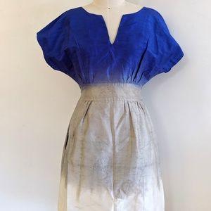 Calypso Silk Watercolor Painted Tie Waist Dress